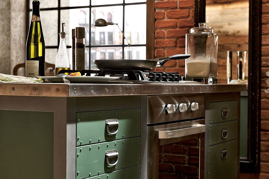 View In Gallery Metallic Hinges, Handles And Solid Painted Wood Drawers Of  The Vintage Kitchen Island