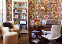Midcentury home office with snazzy wallpaper
