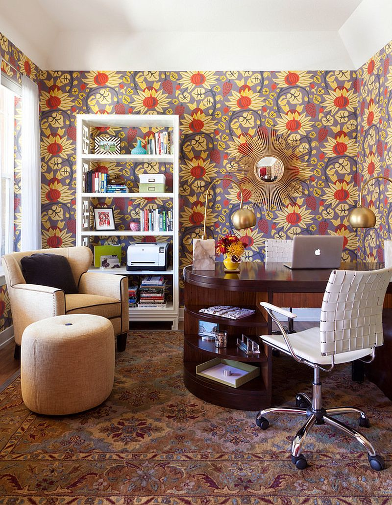 Midcentury home office with snazzy wallpaper [Design: Atelier Interior Design]