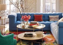 Mirrored Table with Blue Couch