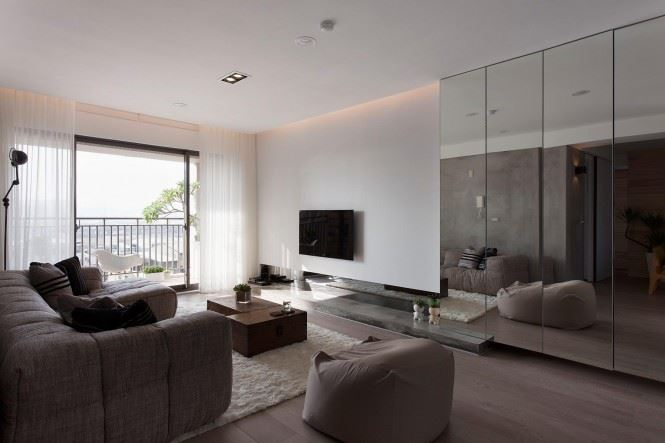 Mirrored panels in a modern living room