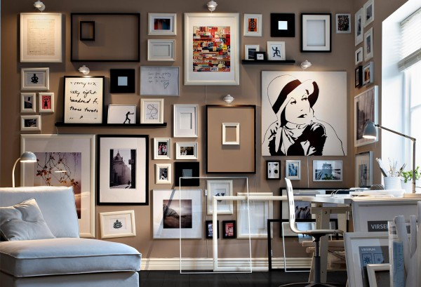 Monochrome-framed-collection-of-sketches-and-art-living-modern