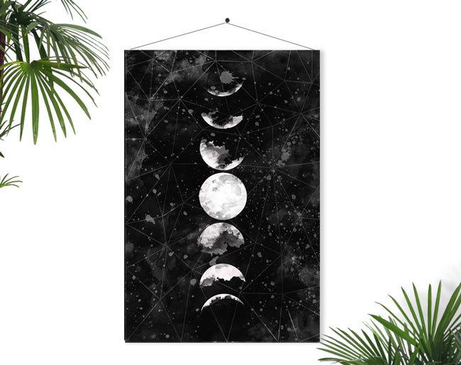 Moon phase poster art from Etsy shop Fybur