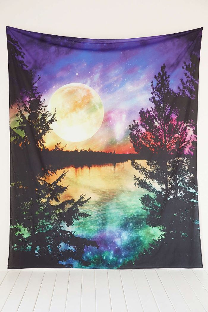 Under the milky way galaxy and moon phase decor for Space themed tapestry