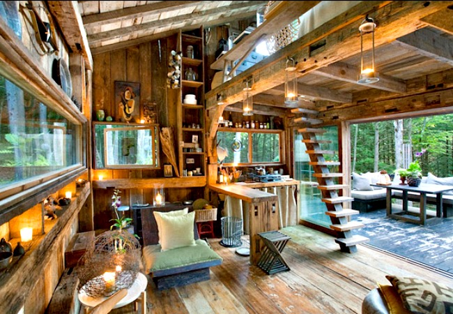 The sunny cabin interior takes full advantage of natural light