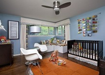Nursery with a cozy reading nook in the corner