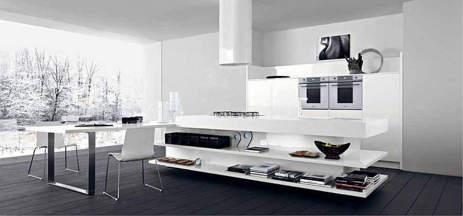 Open shelves of the kitchen island steal the show