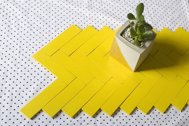 Paint stick table runner idea from Ruffled