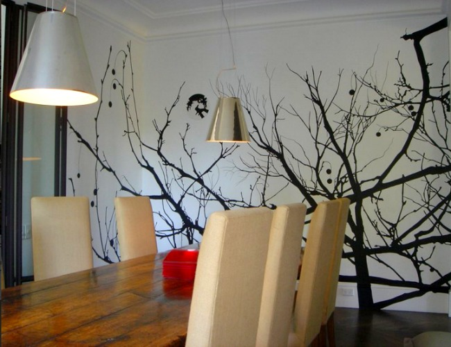 A handpainted living room wall