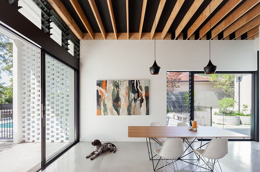 Pendants extend the visual impact of the ceiling [Design: Steele Associates]