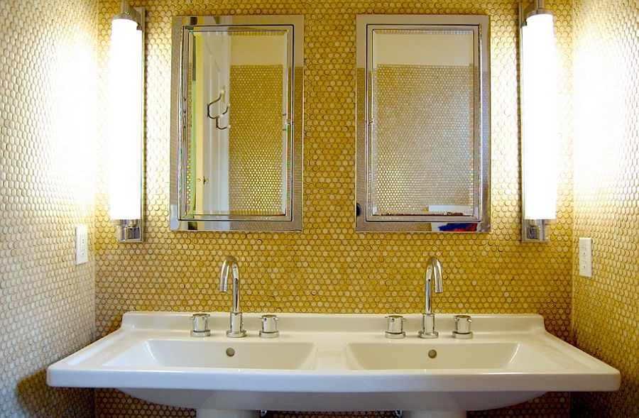 Penny tiles in lovely yellow give the bathroom a unique look [Photography: Corynne Pless]