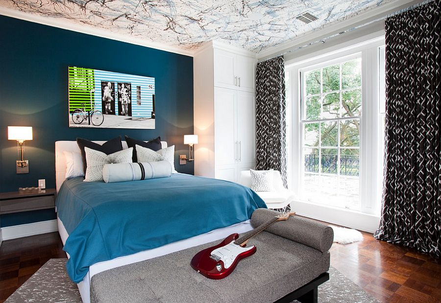 view in gallery posh boys bedroom with a beautiful blue accent wall and creative ceiling design - Bedroom Ceiling Color Ideas