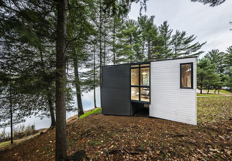 Prefabricated timber cottage in Quebec offers lovely views