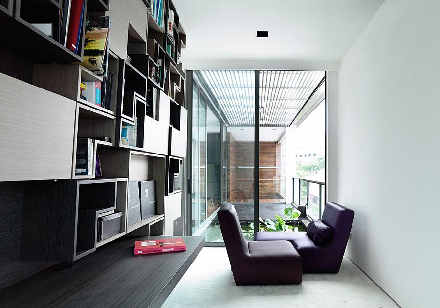 Private study on the top level with balcony overlooking the courtyard below