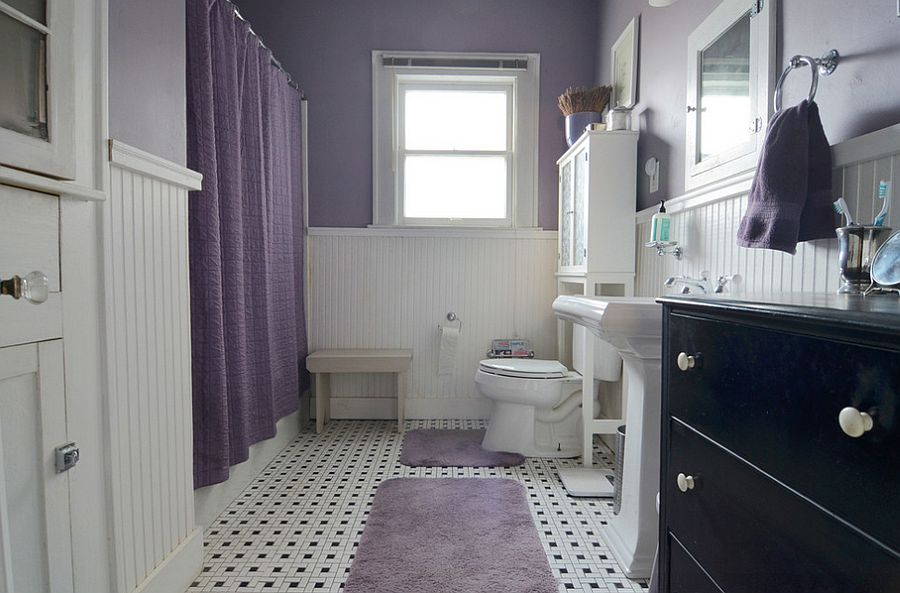 Purple and white bathroom with a hint of country charm