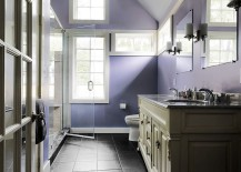 Purple helps paint a soothing backdrop in the stylish bathroom