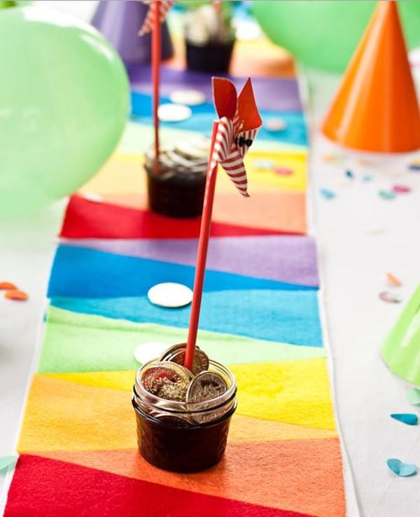 Rainbow felt table runner from Say Yes