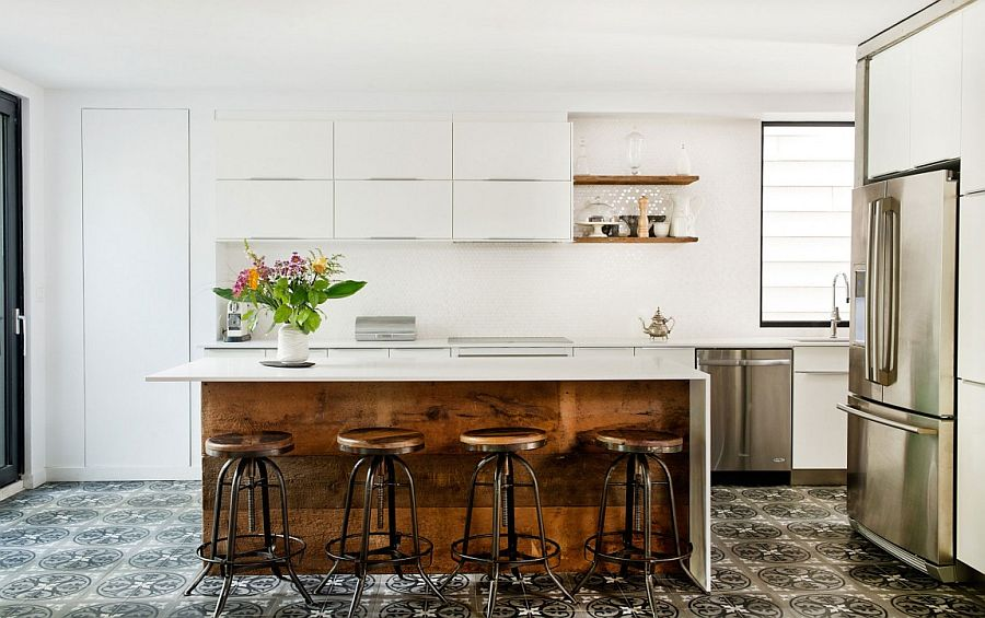 Reclaimed wood adds warmth to the contemporary kitchen in white