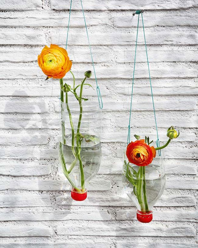 Recycled bottle hanging vases