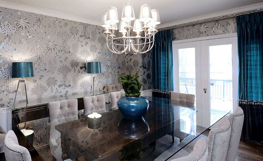 refined dining room with gray blacks and royal blue accents design