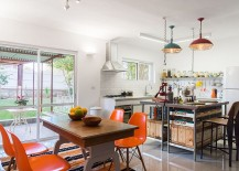 Renovated kitchen and dining area with a view of the garden 217x155 Cheerful Modern Renovation Transforms 50's Israeli Residence
