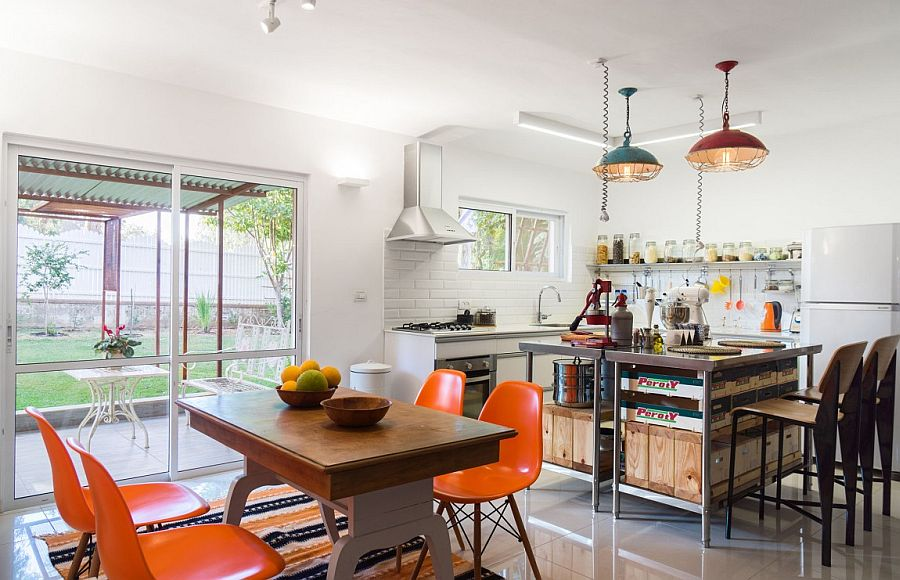 Renovated kitchen and dining area with a view of the garden