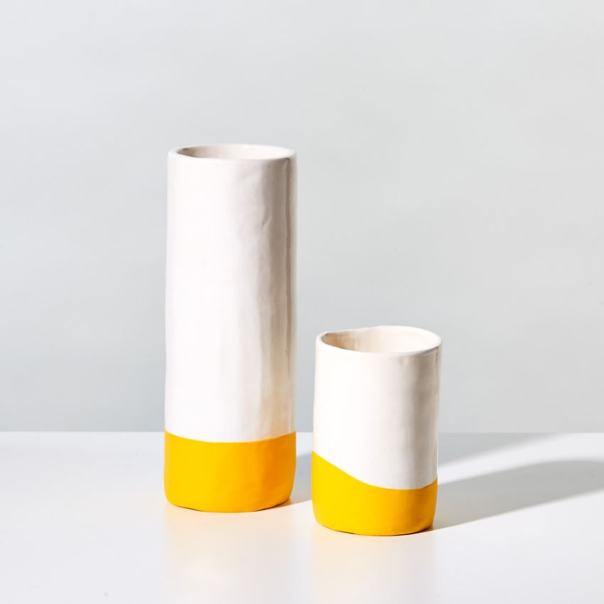 Rubber dipped yellow and white vase from Unison
