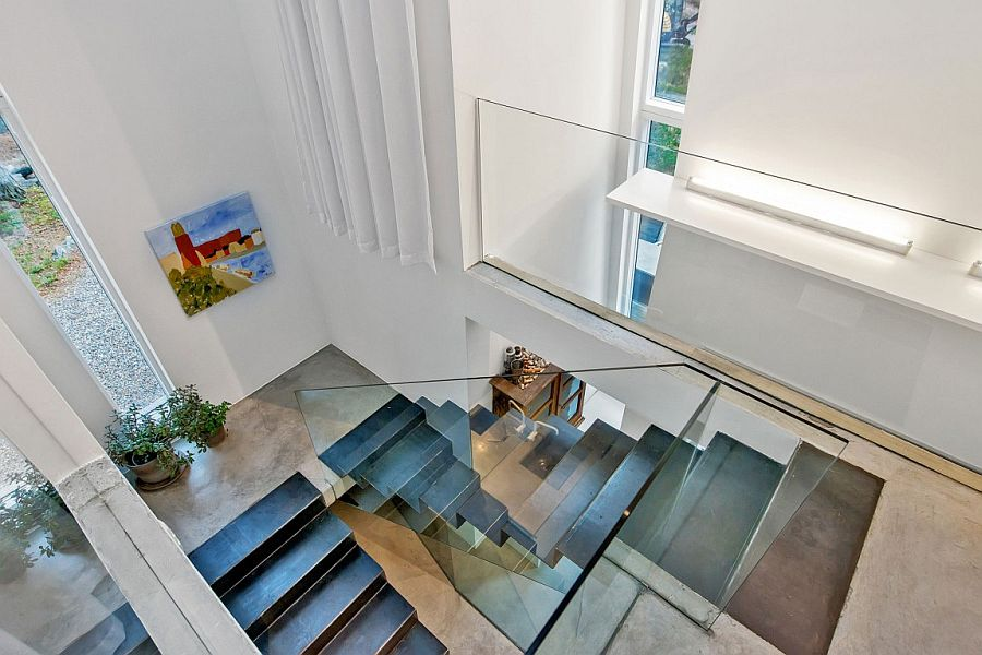 Sculptural contemporary staircase inside the gorgeous home in Sweden