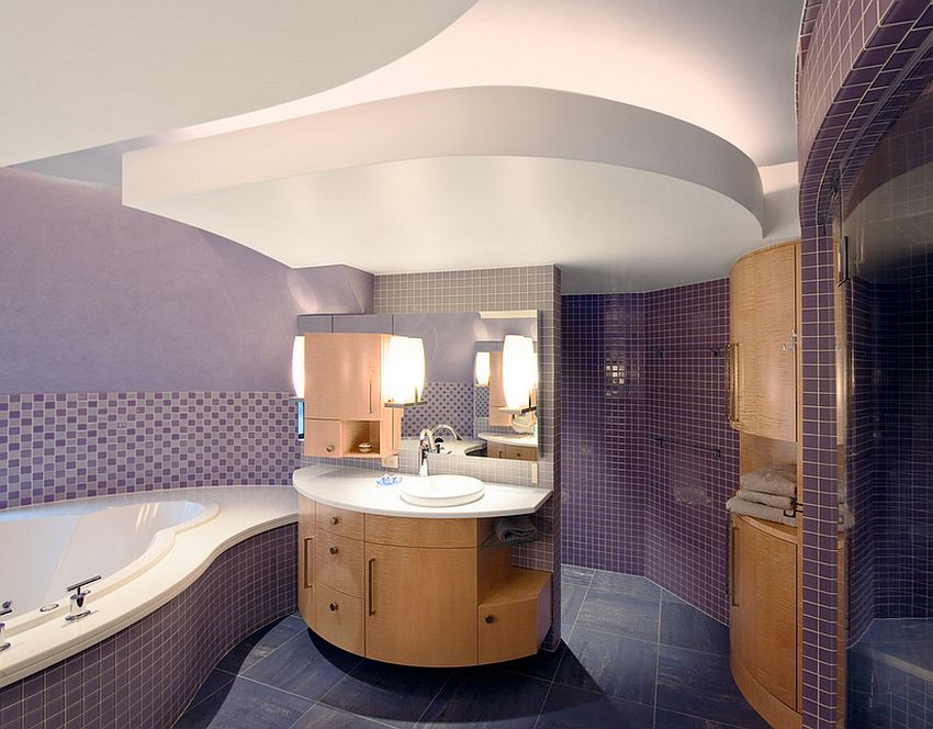 23 amazing purple bathroom ideas photos inspirations for Purple bathroom tiles ideas