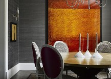 Silk wallpaper adds texture to the modern dining room