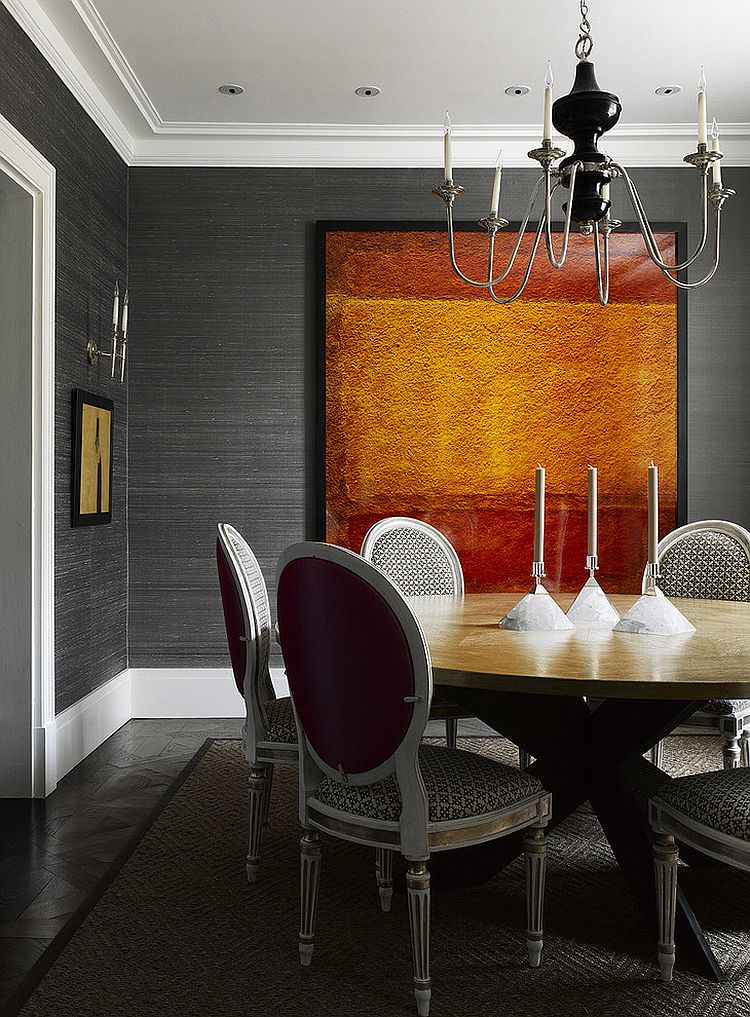 Silk wallpaper adds texture to the modern dining room [Design: Bruce Norman Long Interior Design]