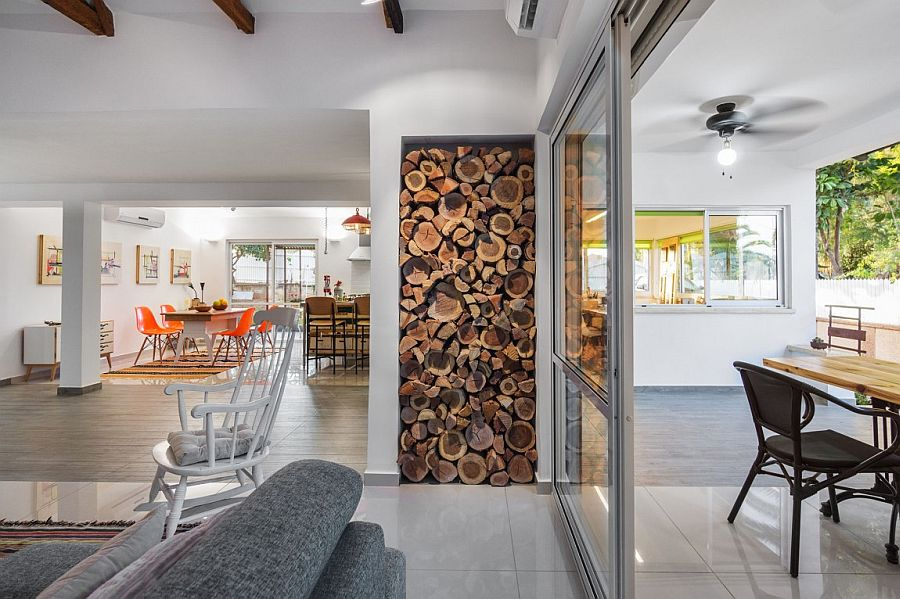 Simple glass doors connect the living area with the outdoors