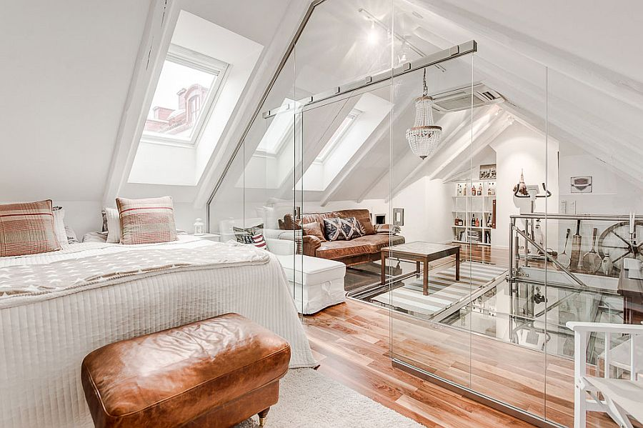 Attic Apartment With Awesome Glass Flooring In Stockholm