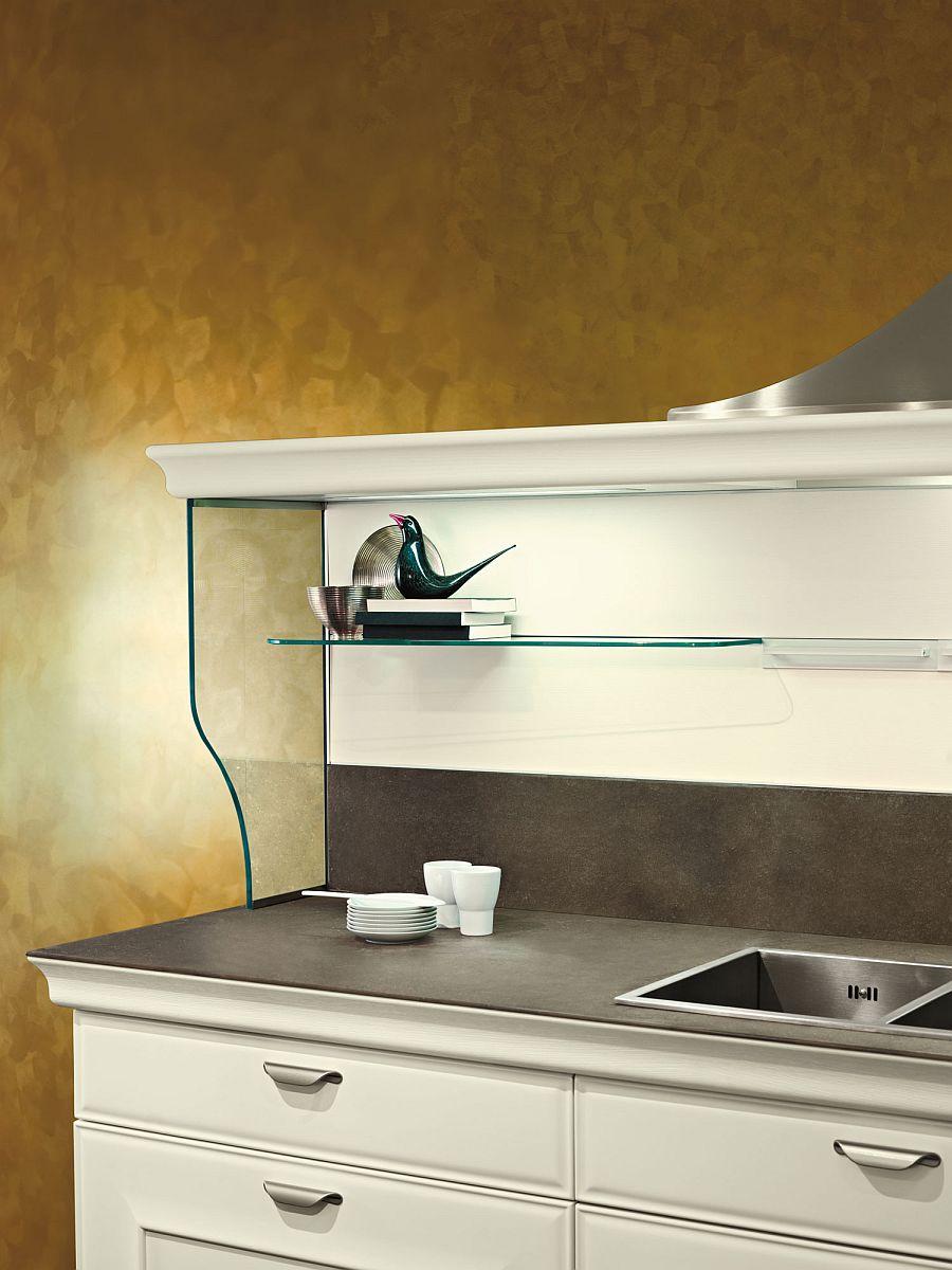 Sleek glass shleves help shape a fabulous display in the kitchen
