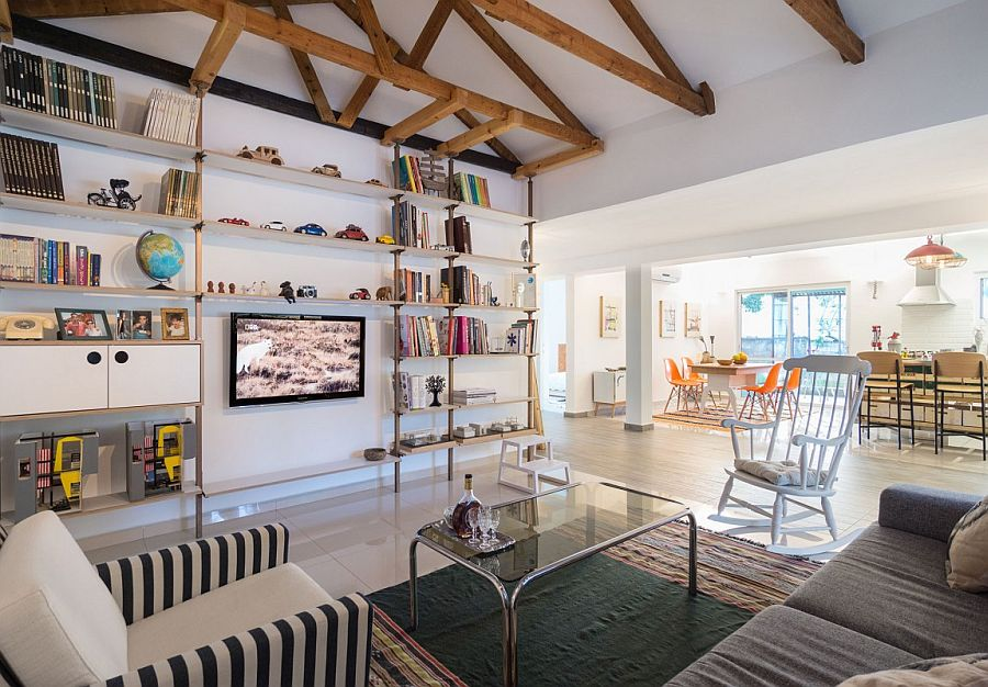 Sleek shelves create a wonderful display in the living room
