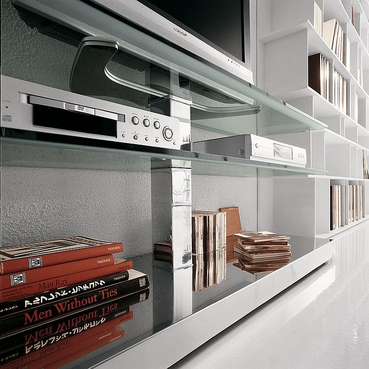 Sleek shelves of the PLAY TV Unit crafted in glass