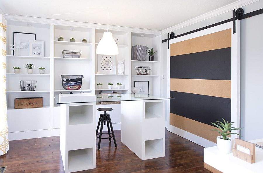Sliding door adds color and pattern to the contemporary home office [Design: Love Nest Design]