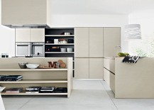 Small divider with open shelves helps demarcate spaces in open floor plan 217x155 Lucrezia: Versatile Contemporary Kitchen Brings Home Endless Possibilities
