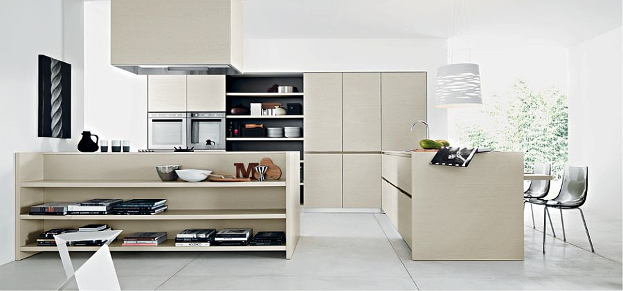 Small divider with open shelves helps demarcate spaces in open floor plan
