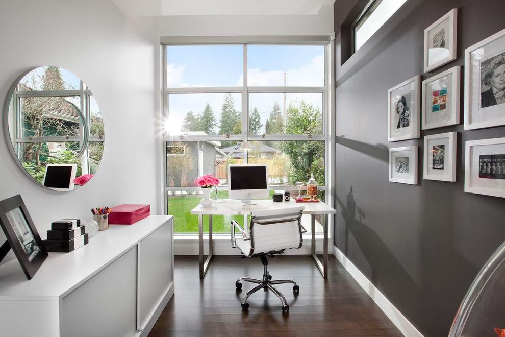 Small home office with a cool gray home office Hot Design Trends Shaping Home Offices in 2015