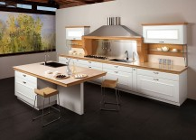 Smart kitchen island gives the space an airy, modern ambiance