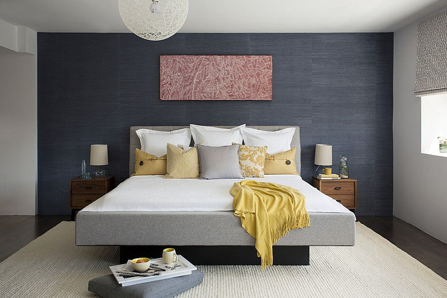 Snazzy contemporary bedroom with grasscloth wallcovering and Random light