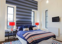 Snazzy use of stripes in the contemporary bedroom in London