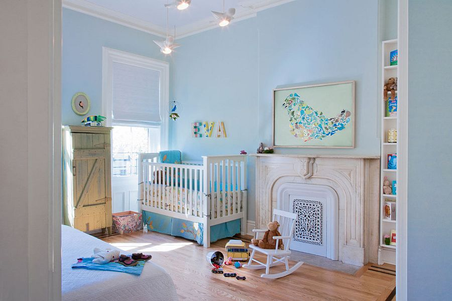Soothing nursery in light blue with custom wall art [Design: Jen Talbot Design]