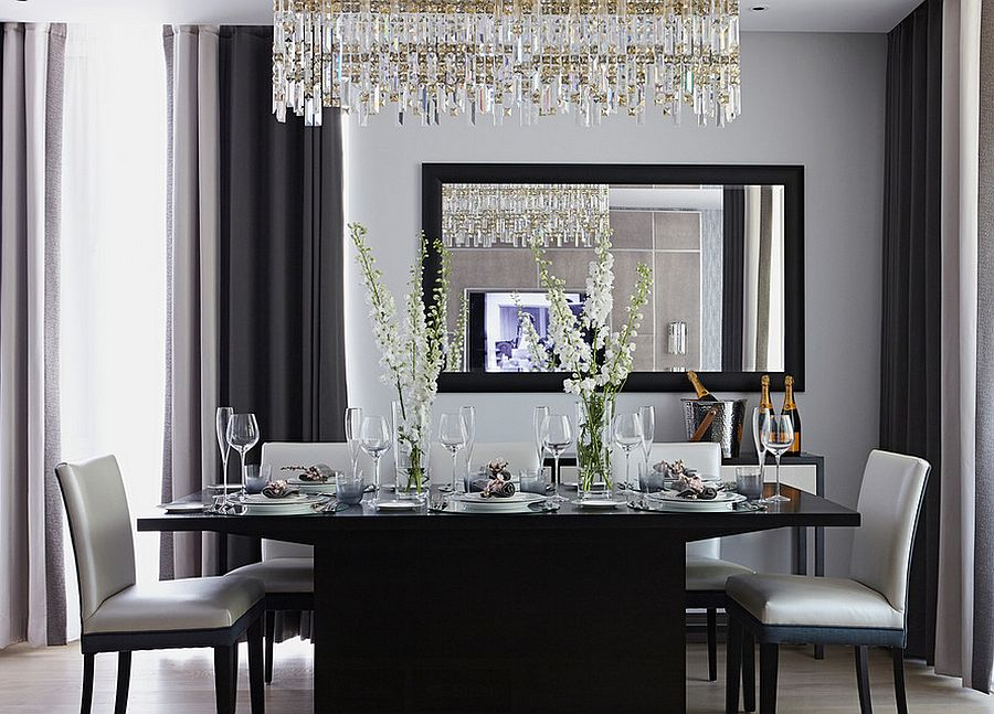 25 elegant and exquisite gray dining room ideas for Black and white dining room decor