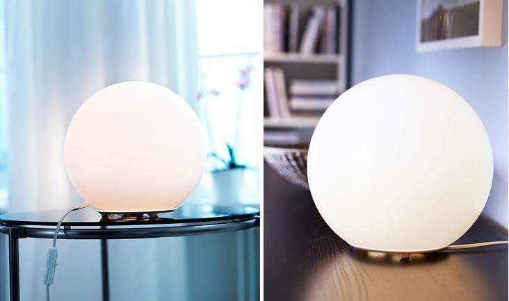 Spherical table lamp from IKEA