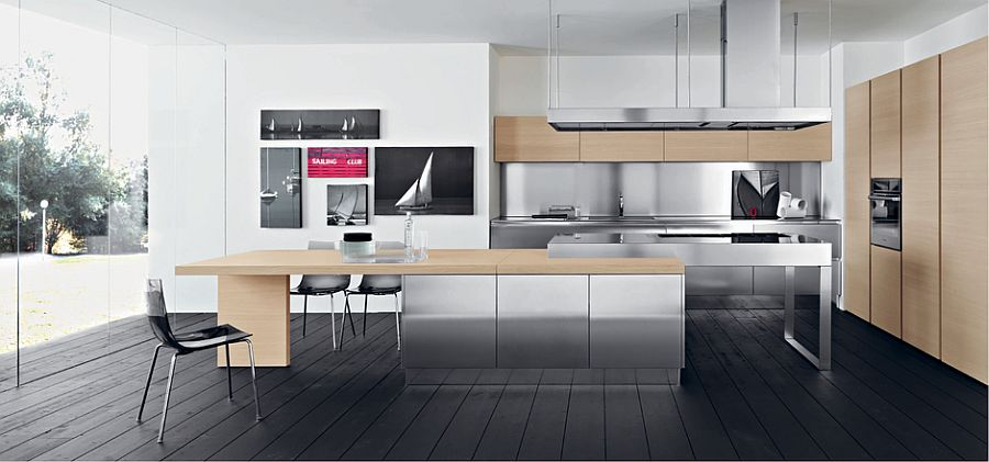 Stainless steel adds shiny glitter to the trendy kitchen