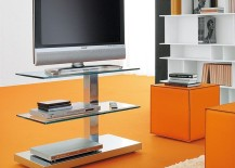Standalone-TV-unit-with-steel-frame-and-glass-shelves-takes-up-little-space-217x155