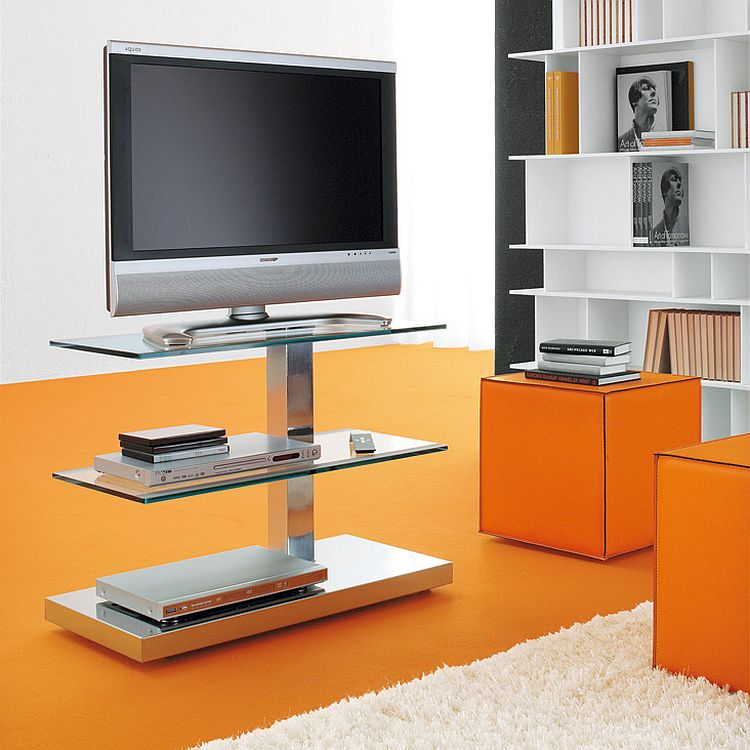 Standalone TV unit with steel frame and glass shelves takes up little space