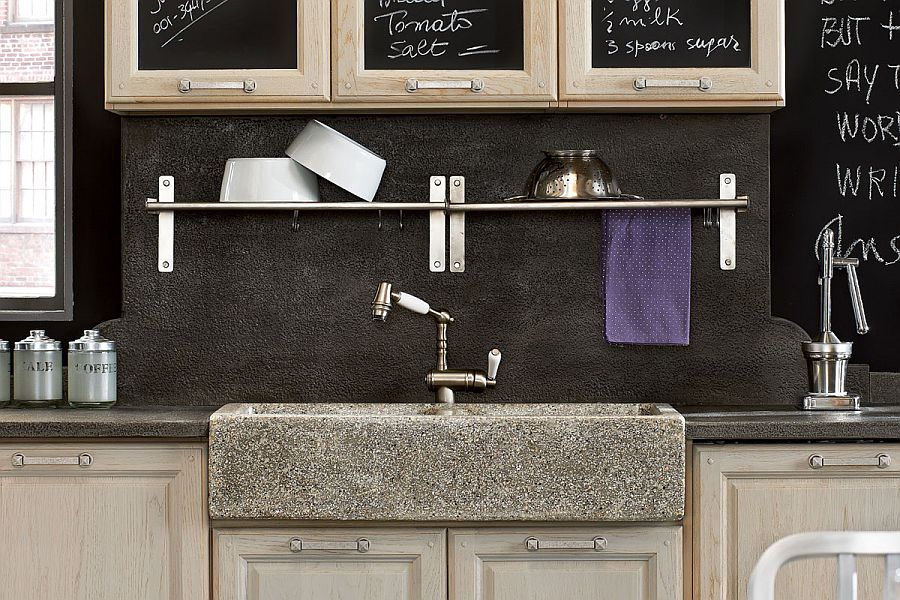 Stone adds a unique visual appeal to the vintage kitchen